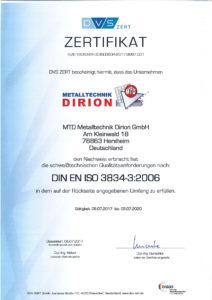 MTD Metalltechnik Dirion GmbH - Zertifikat_DIN_EN_ISO_3834-3_2006