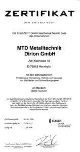 MTD Metalltechnik Dirion GmbH - Zertifikat_DIN_EN_ISO_9001